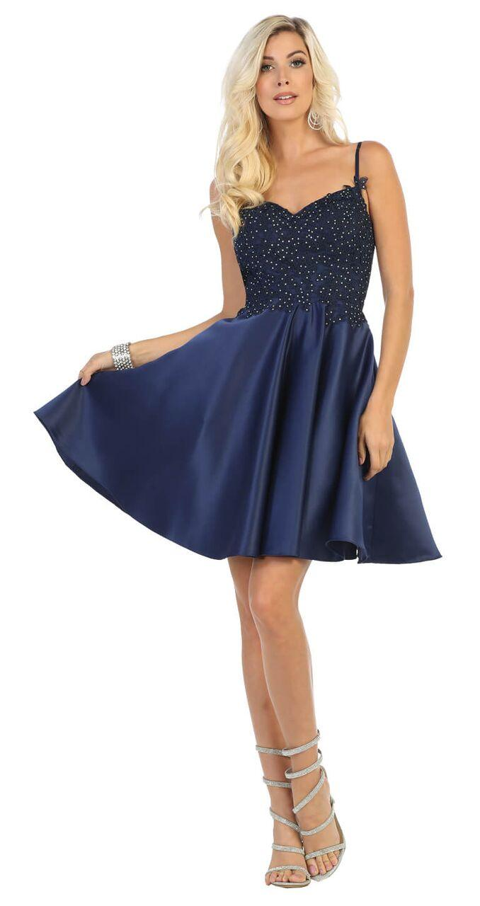 Short Spaghetti Strap Plus Size Satin Prom Dress - The Dress Outlet Navy