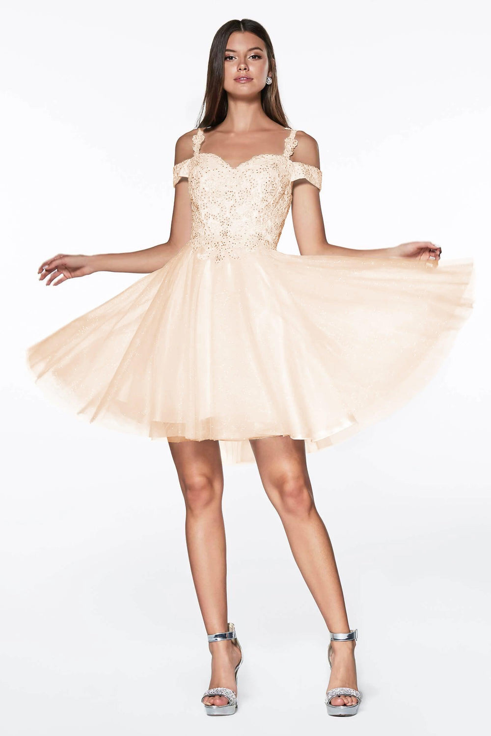 Short Prom Formal Homecoming Dress - The Dress Outlet Champagne