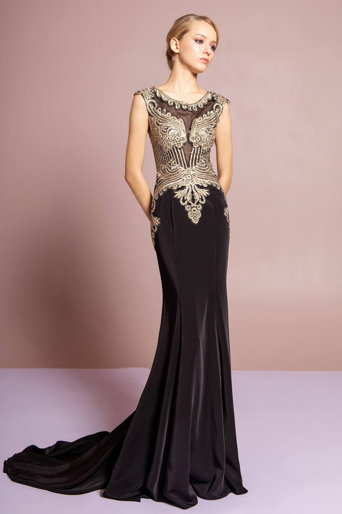Sleeveless Prom Long Dress Formal Train - The Dress Outlet Black