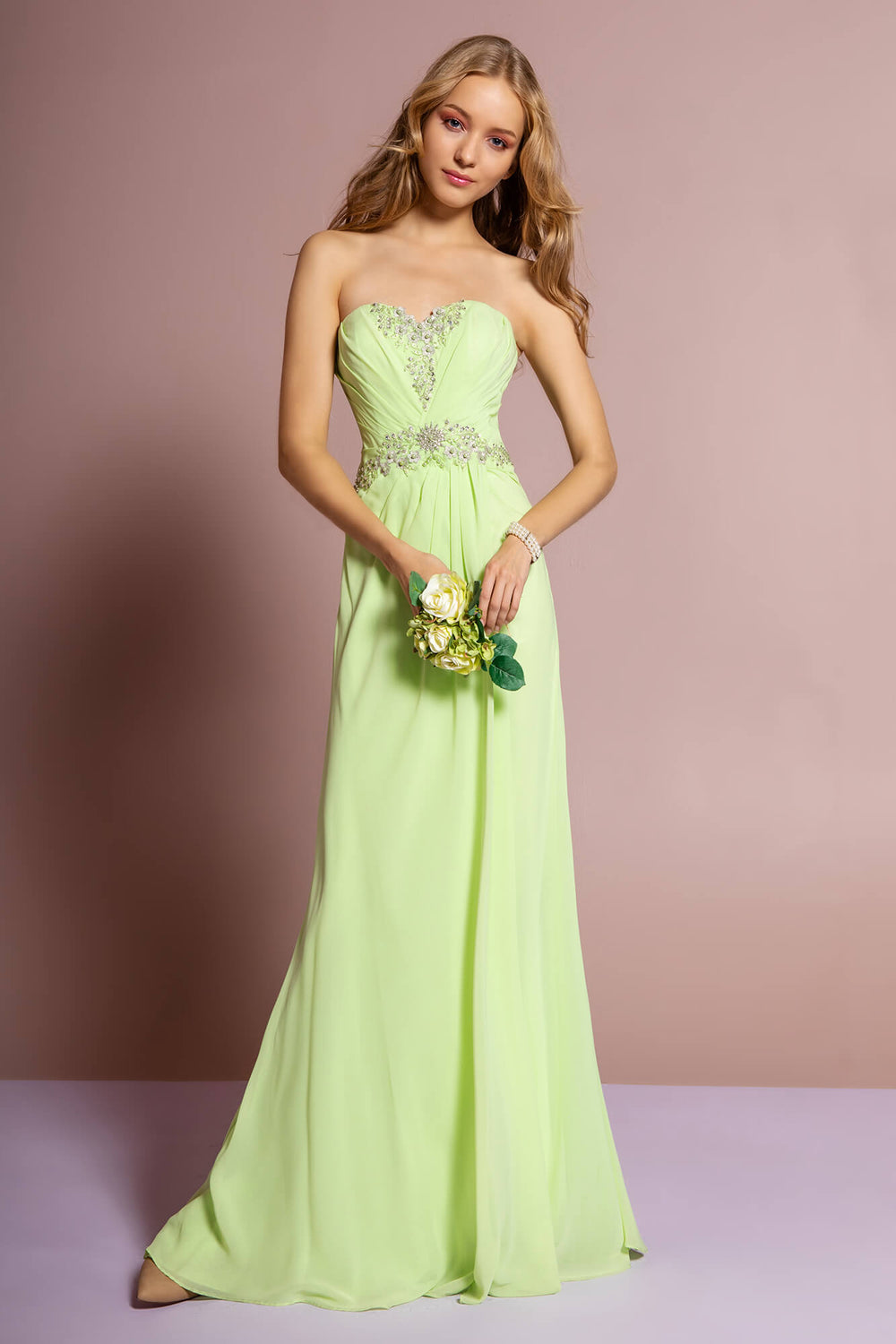 Strapless Sweetheart Long Formal Dress - The Dress Outlet Light Green