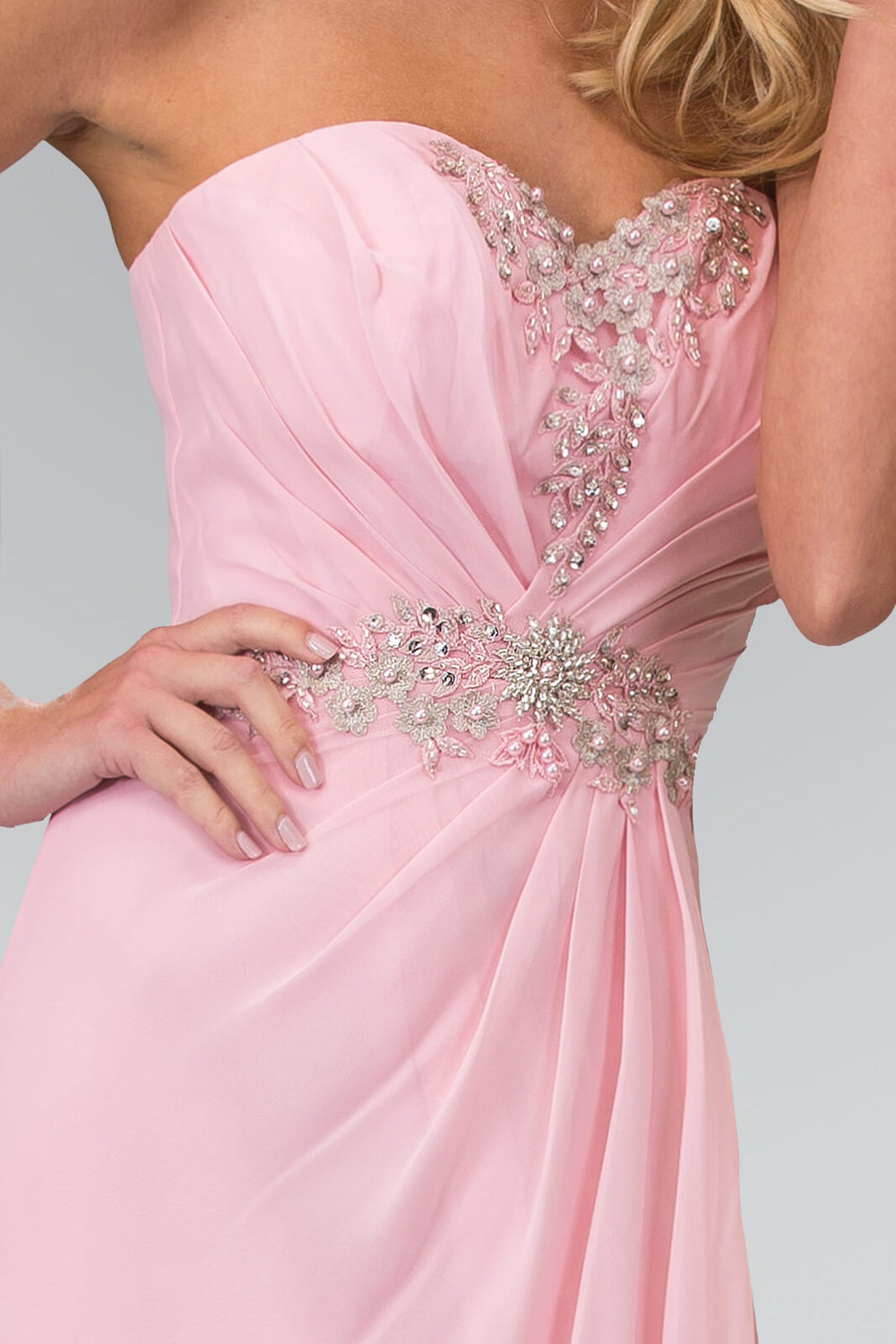 Strapless Sweetheart Long Formal Dress - The Dress Outlet Pink