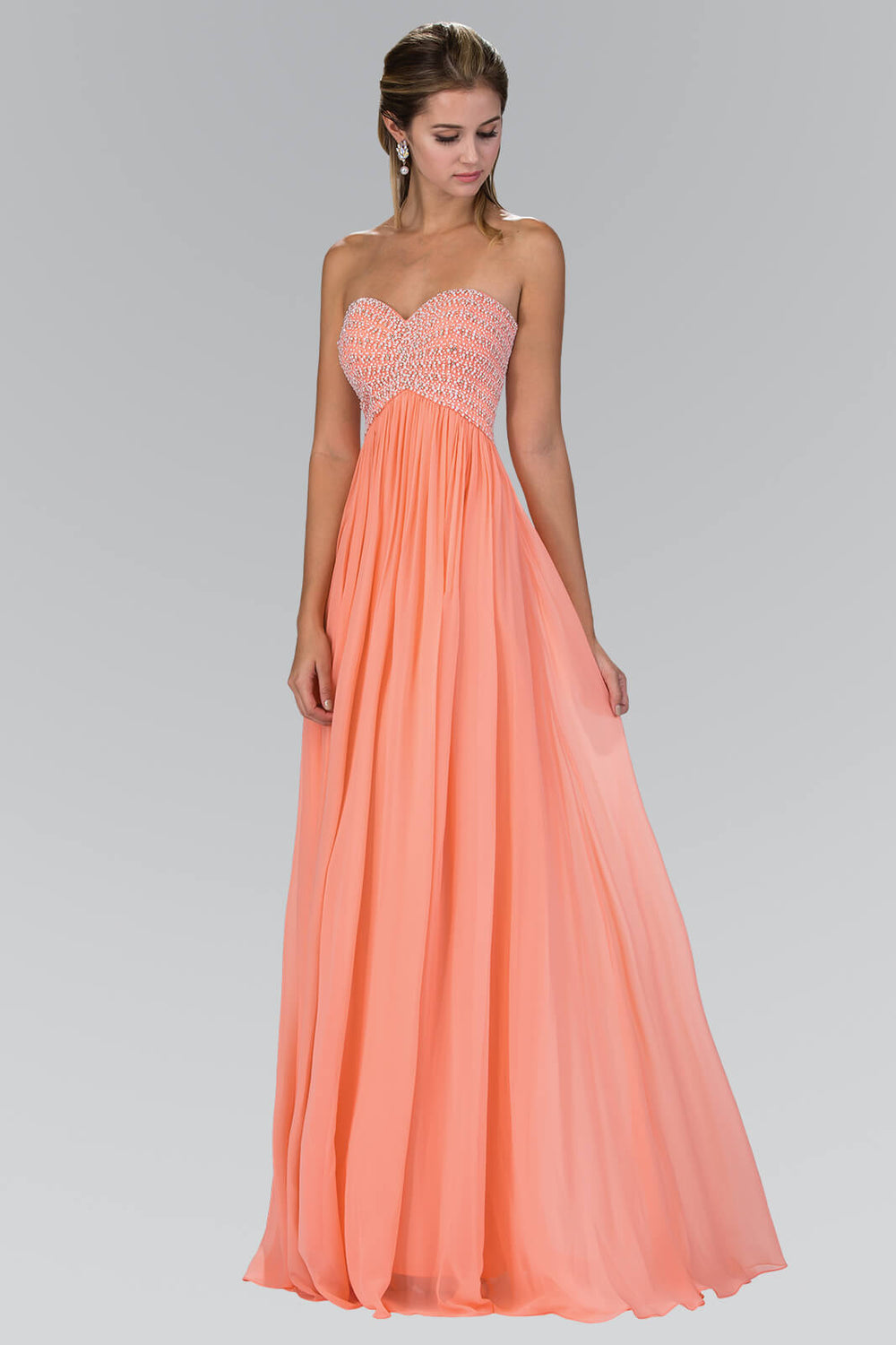 Strapless Long Prom Evening Gown - The Dress Outlet Coral