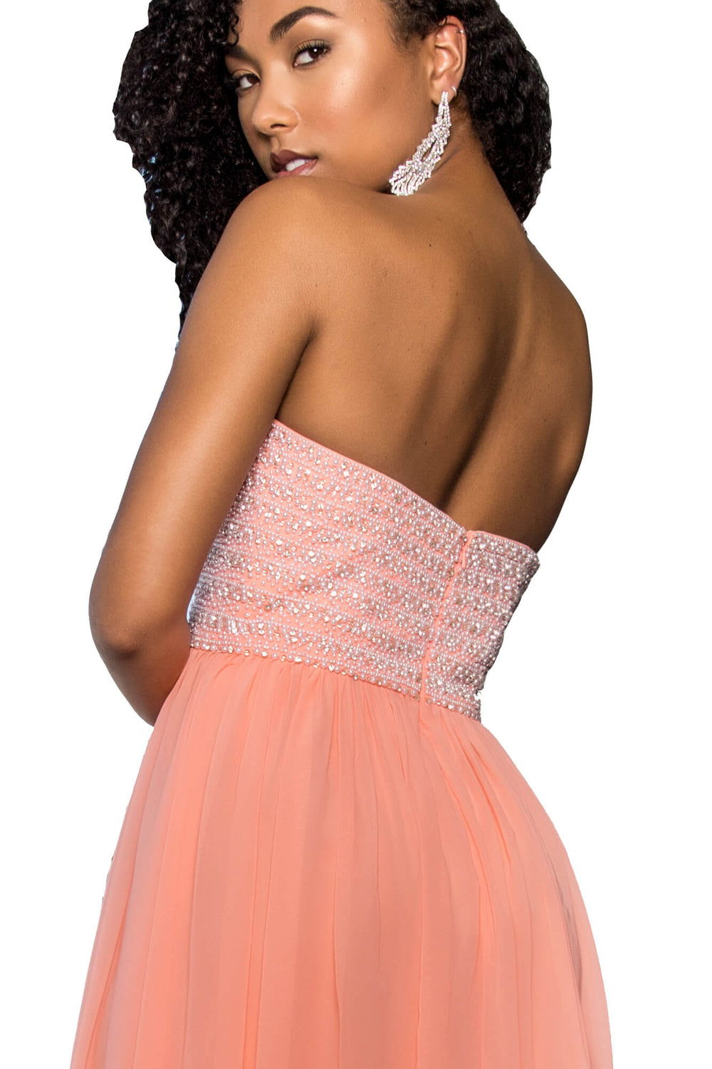 Strapless Long Prom Evening Gown - The Dress Outlet