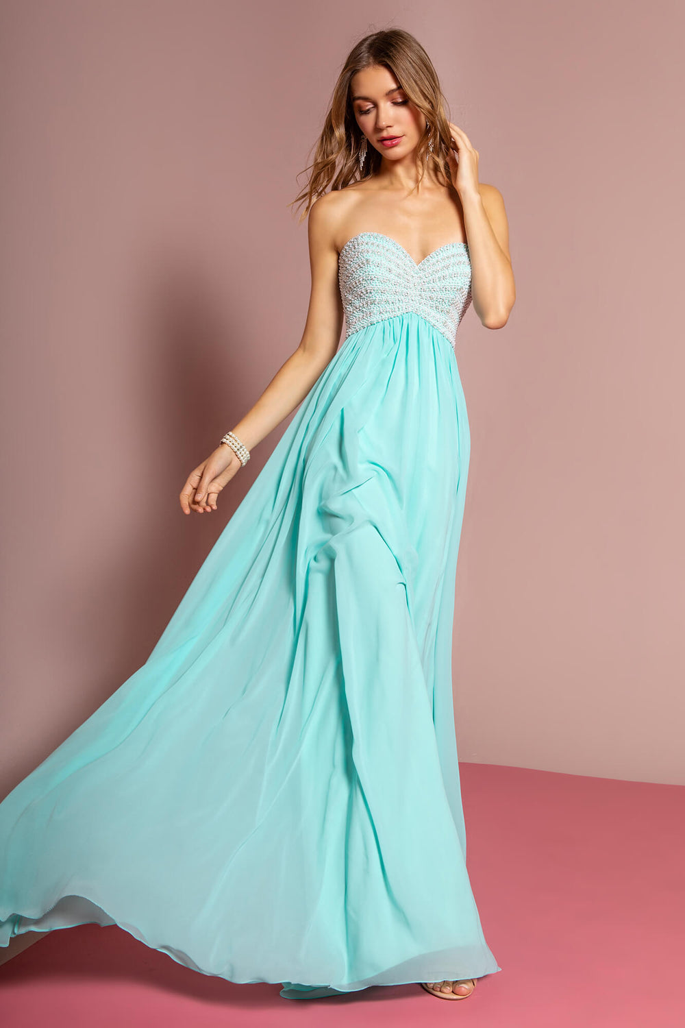 Strapless Long Prom Evening Gown - The Dress Outlet Mint