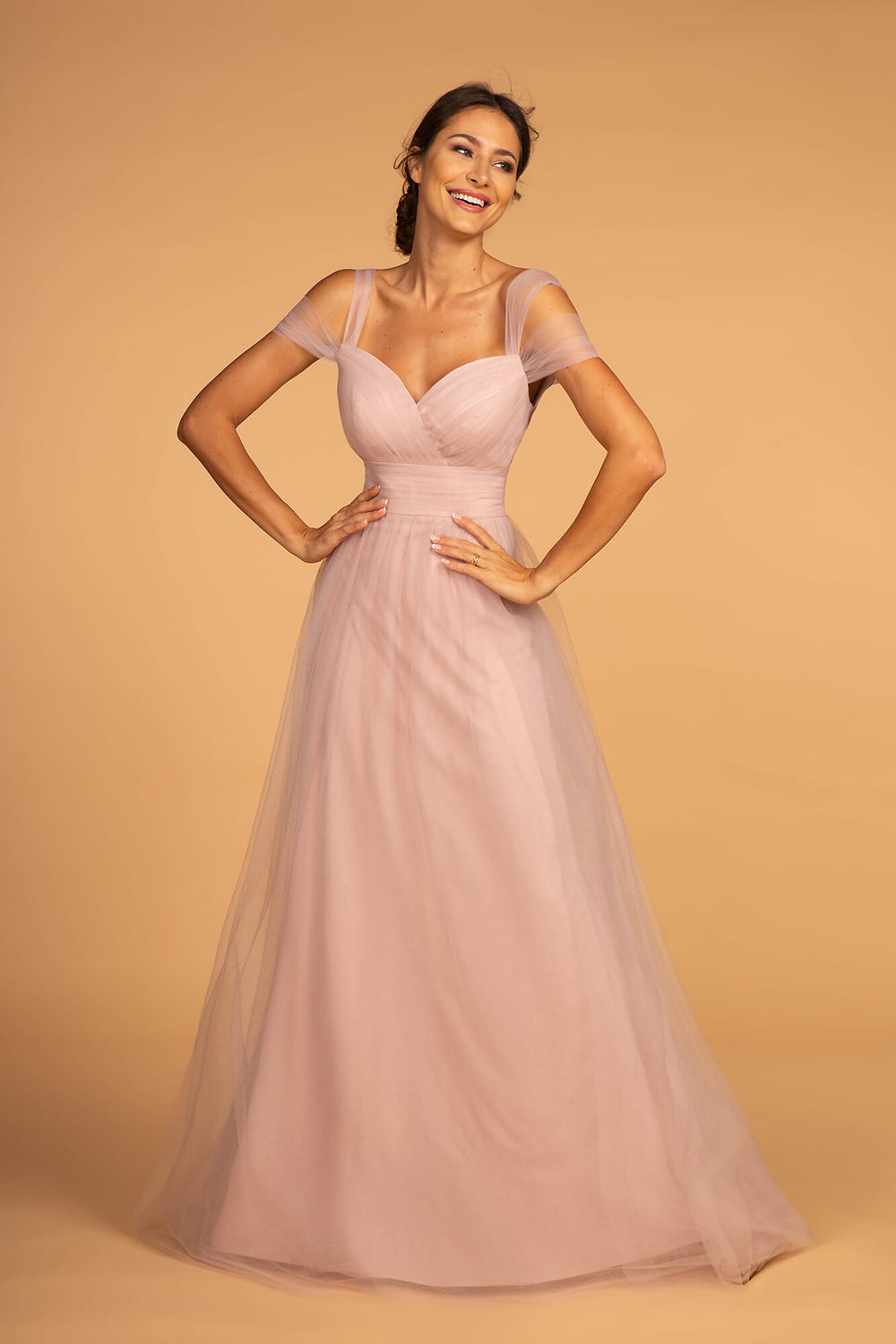 Sweethearted Formal Long Dress Bridesmaid - The Dress Outlet Mauve Pink