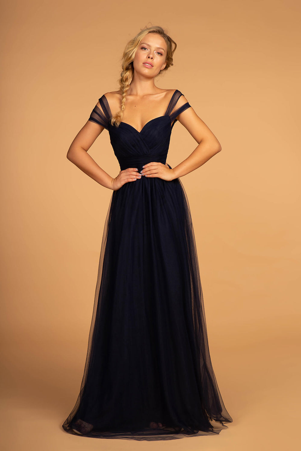 Sweethearted Formal Long Dress Bridesmaid - The Dress Outlet Navy