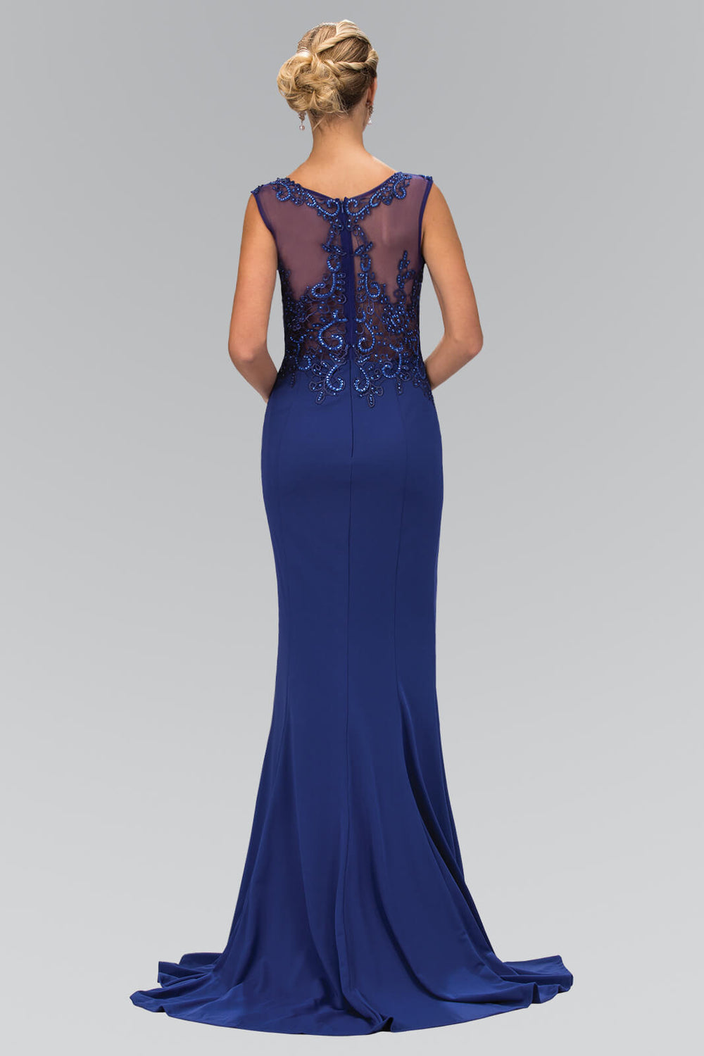 Sleeveless Rome Jersey Long Prom Dress Formal - The Dress Outlet