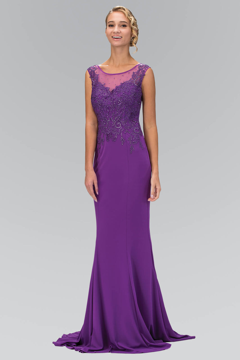 Sleeveless Rome Jersey Long Prom Dress Formal - The Dress Outlet Purple