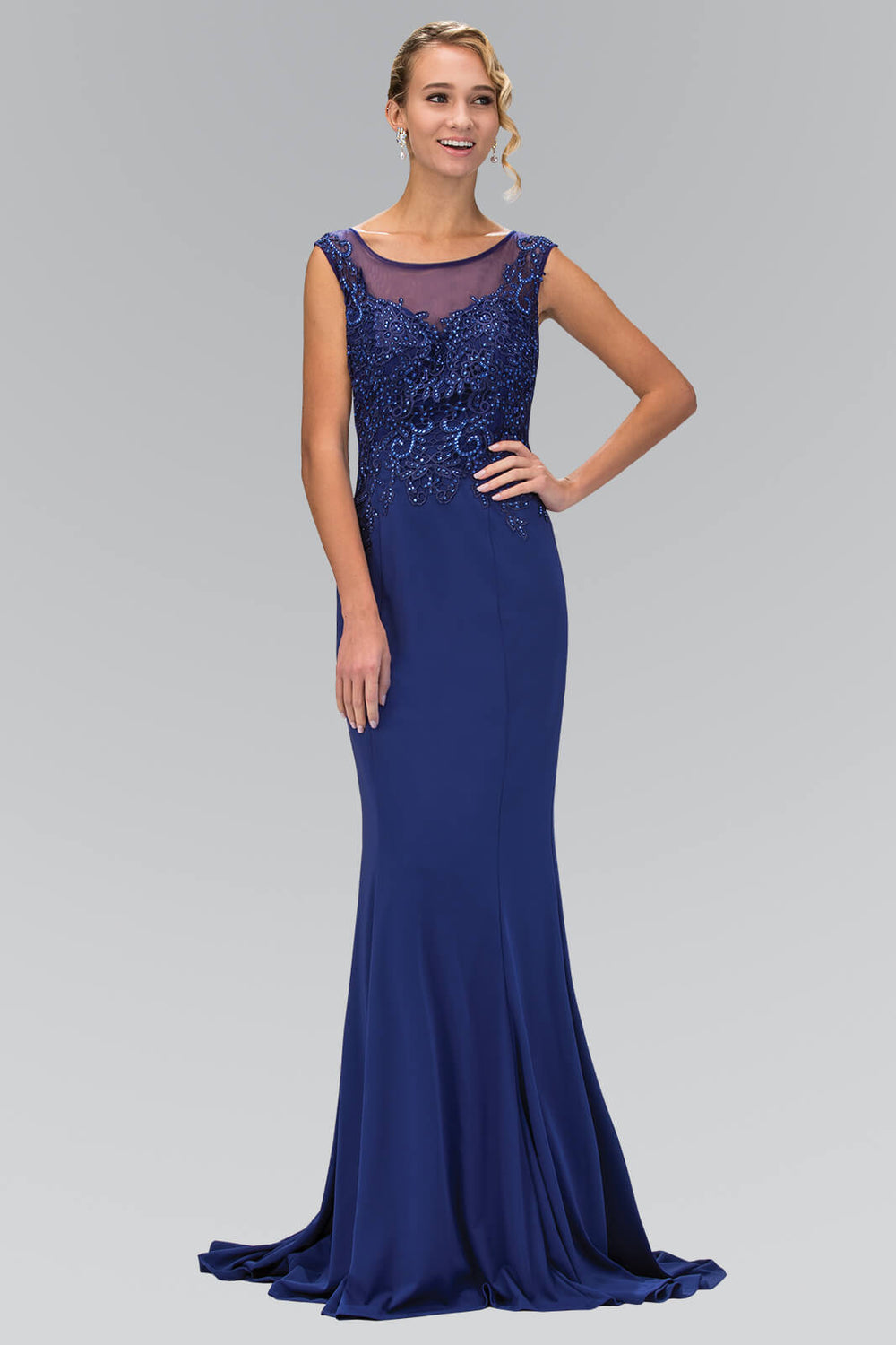 Sleeveless Rome Jersey Long Prom Dress Formal - The Dress Outlet Royal Blue