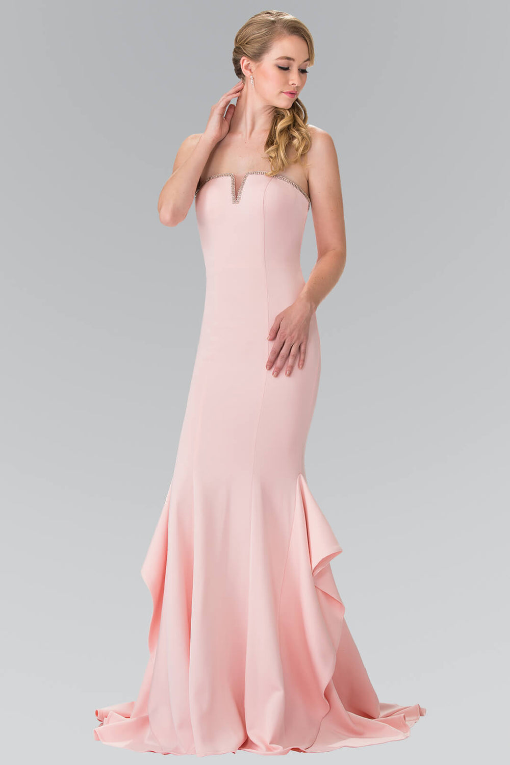 Strapless Long Prom Dress Formal Evening Gown - The Dress Outlet Blush