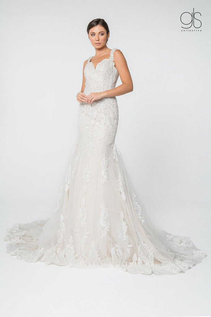 Simple Lace Mermaid Wedding Long Dress - The Dress Outlet Elizabeth K