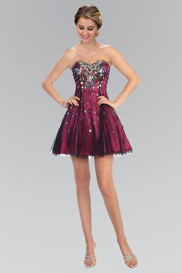 Strapless Short Prom Dress Formal Homecoming - The Dress Outlet Fuchsia