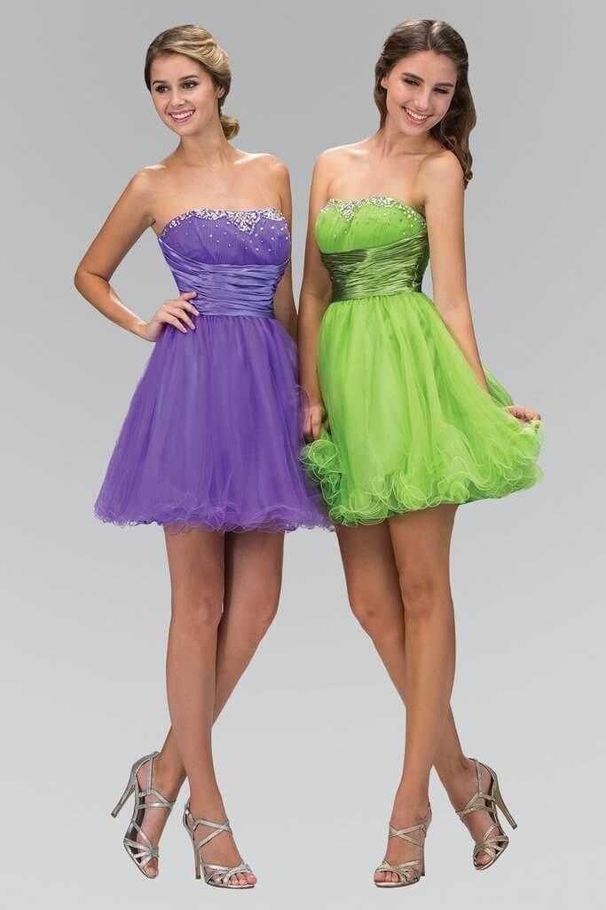 Strapless Prom Short Dress Formal Homecoming - The Dress Outlet Lilac