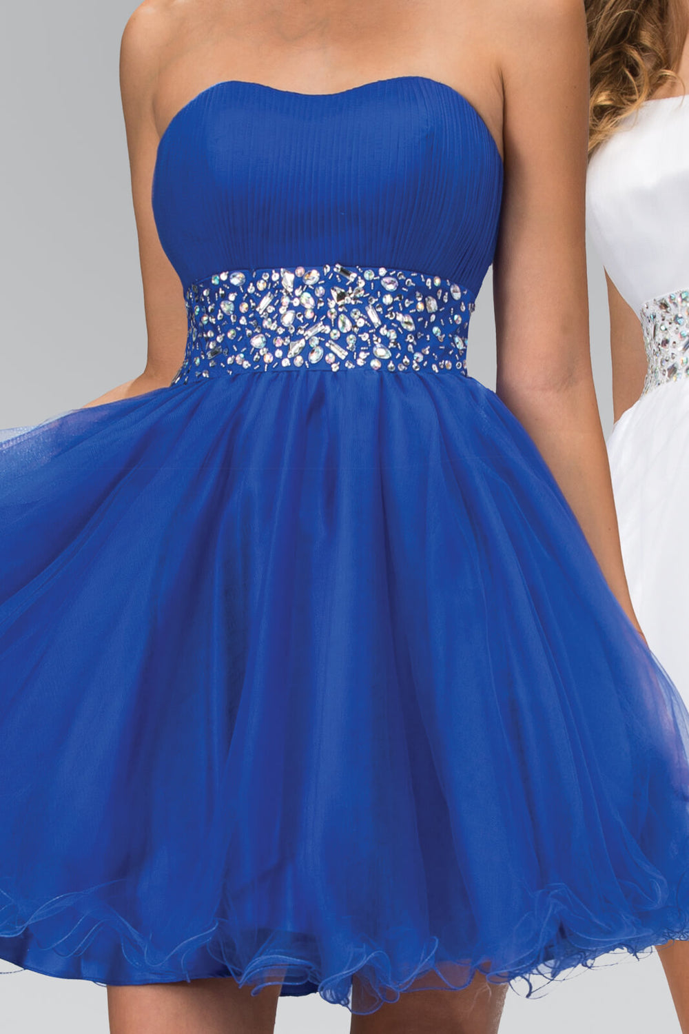 Strapless Sweetheart Prom Short Dress - The Dress Outlet Royal Blue