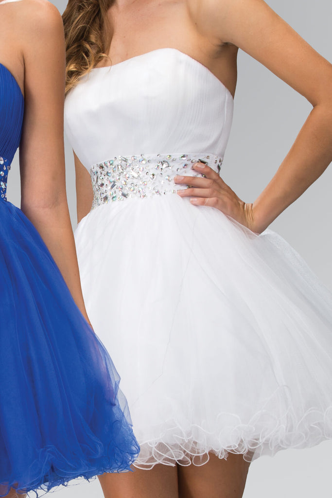 Strapless Sweetheart Prom Short Dress - The Dress Outlet Elizabeth K