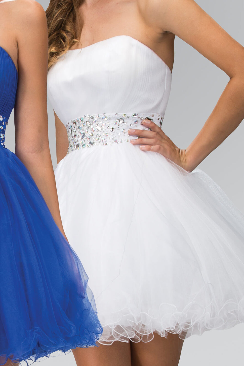 Strapless Sweetheart Prom Short Dress - The Dress Outlet White