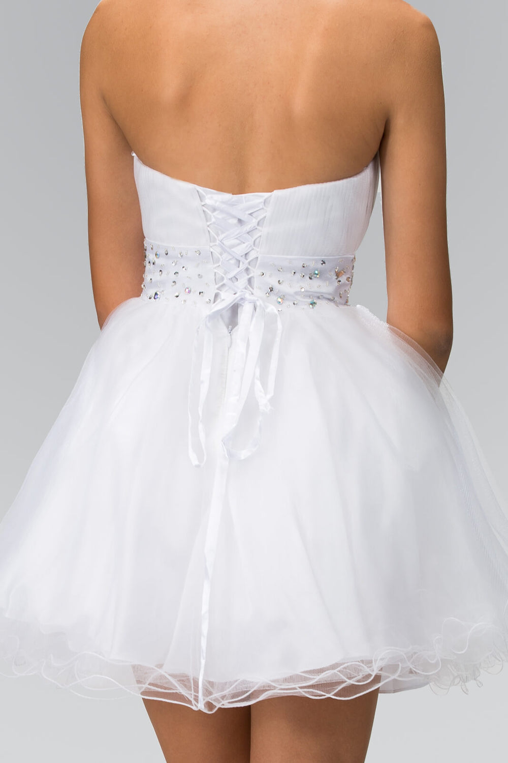 Strapless Sweetheart Prom Short Dress - The Dress Outlet