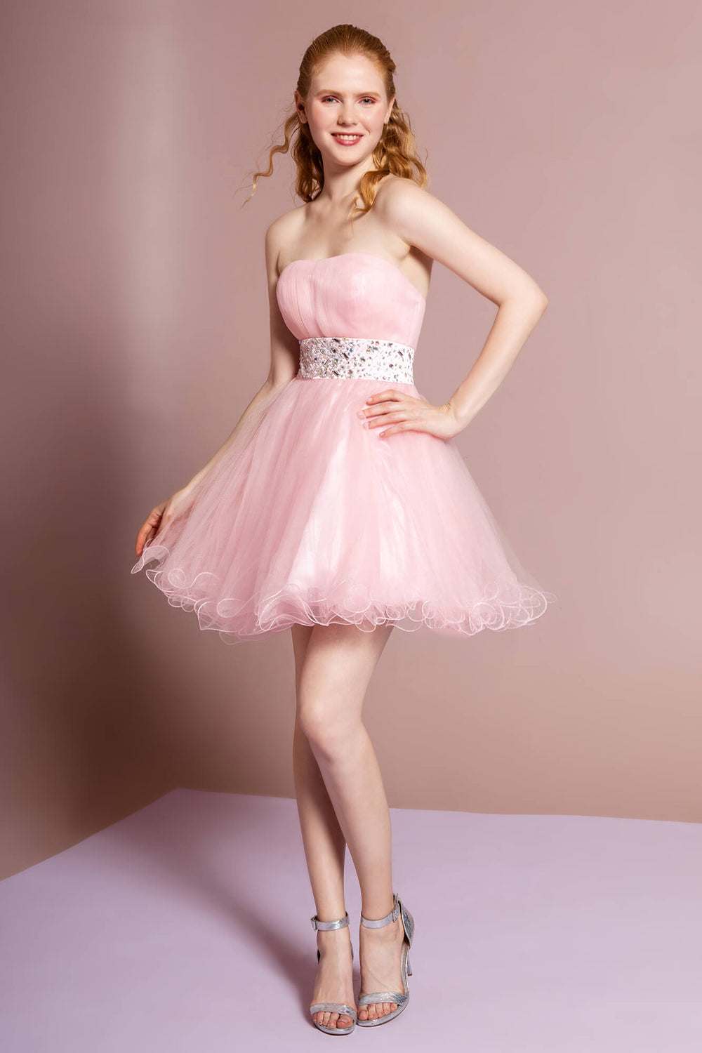 Strapless Sweetheart Prom Short Dress - The Dress Outlet Blush