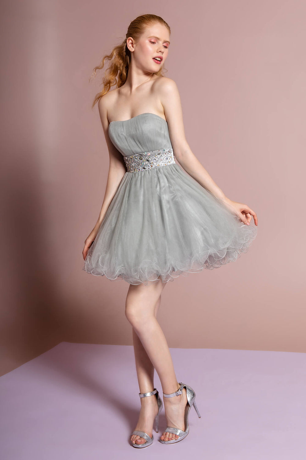Strapless Sweetheart Prom Short Dress - The Dress Outlet Silver