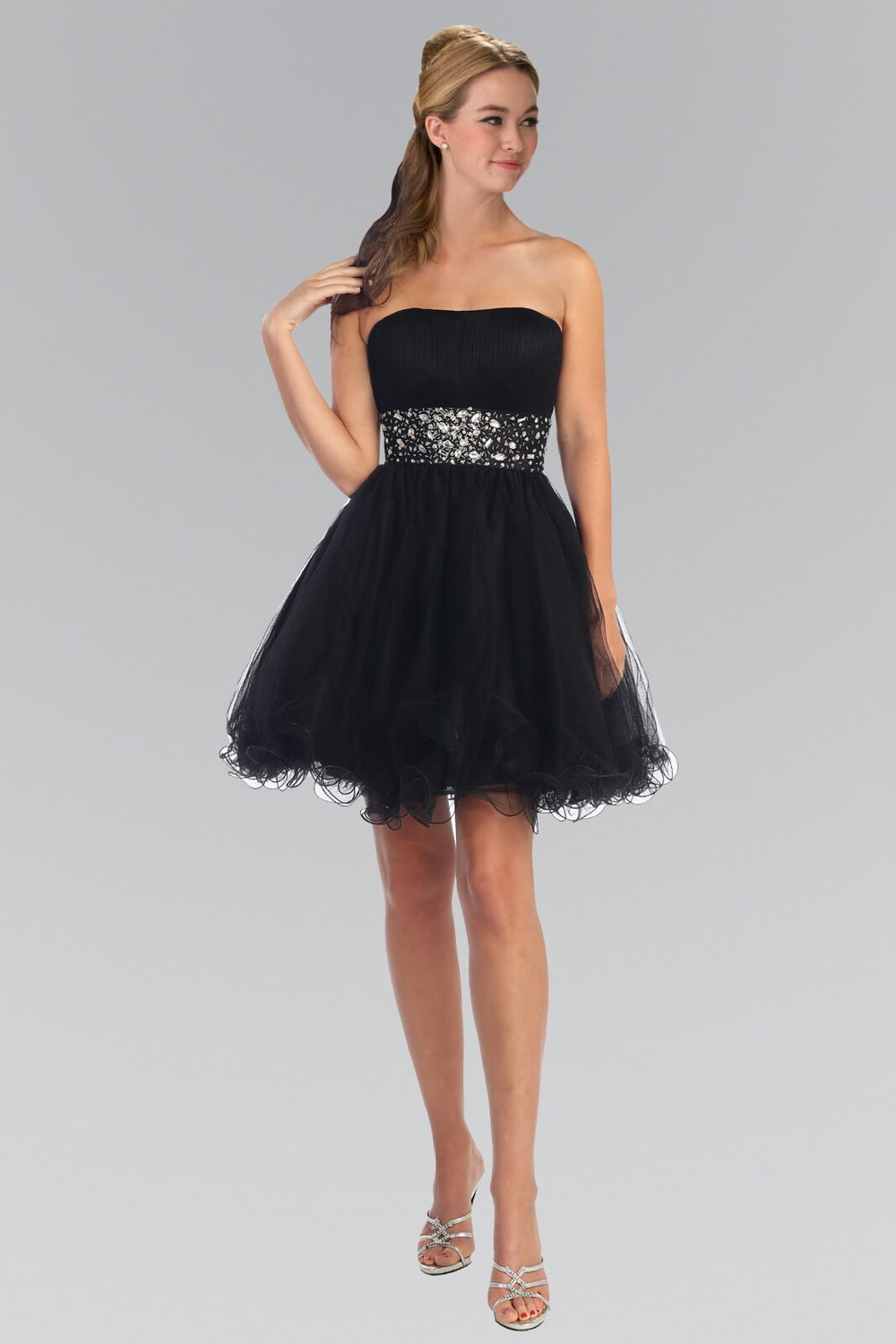 Strapless Sweetheart Prom Short Dress - The Dress Outlet Black