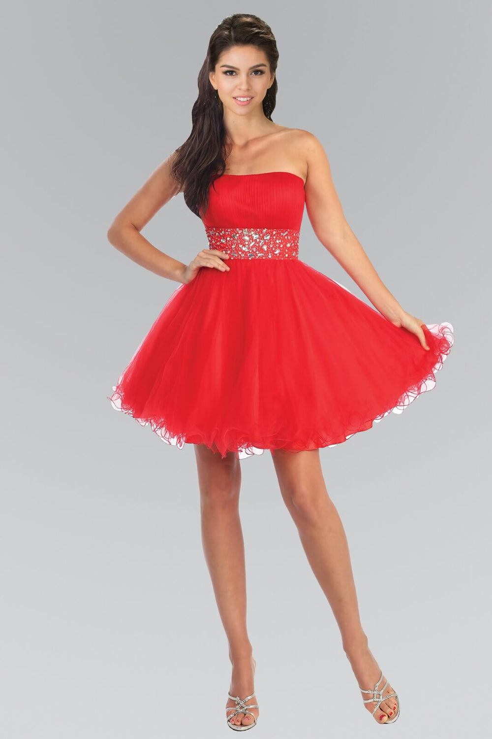 Strapless Sweetheart Prom Short Dress - The Dress Outlet Red