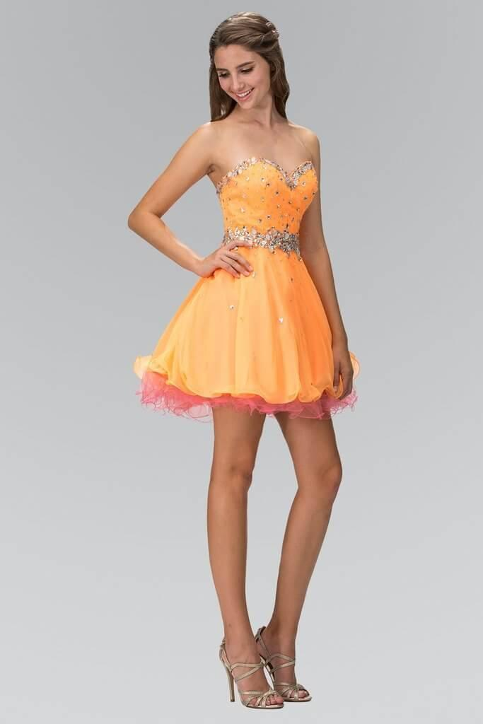 Short Strapless Prom Dress Homecoming - The Dress Outlet Orange