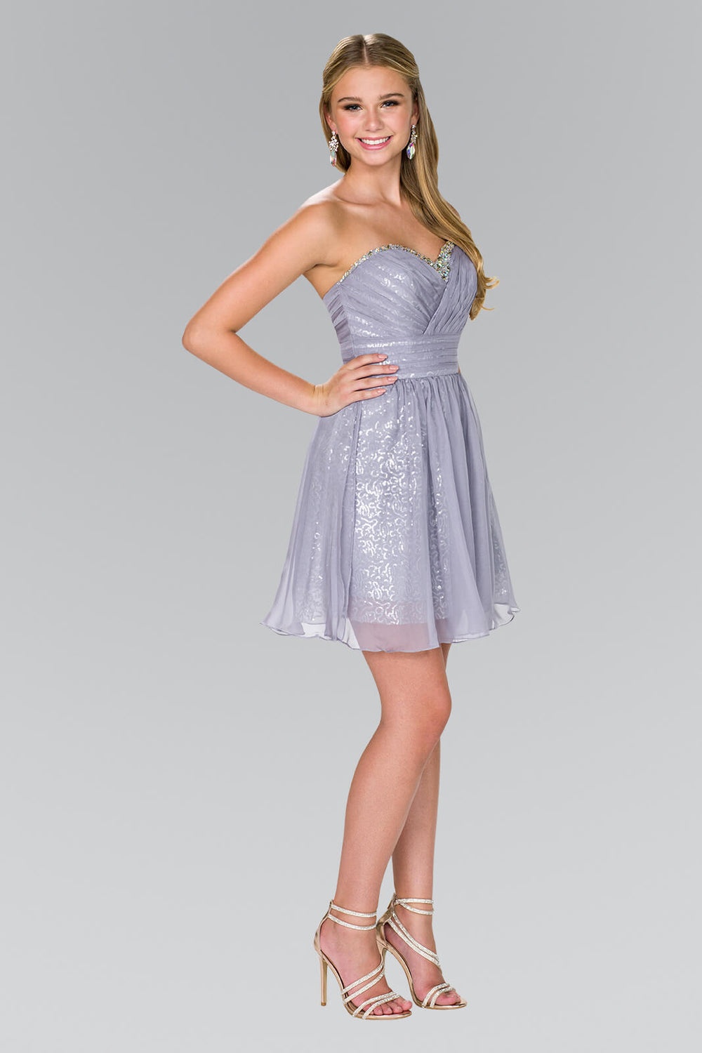 Short Strapless Sweetheart Prom Dress - The Dress Outlet Silver