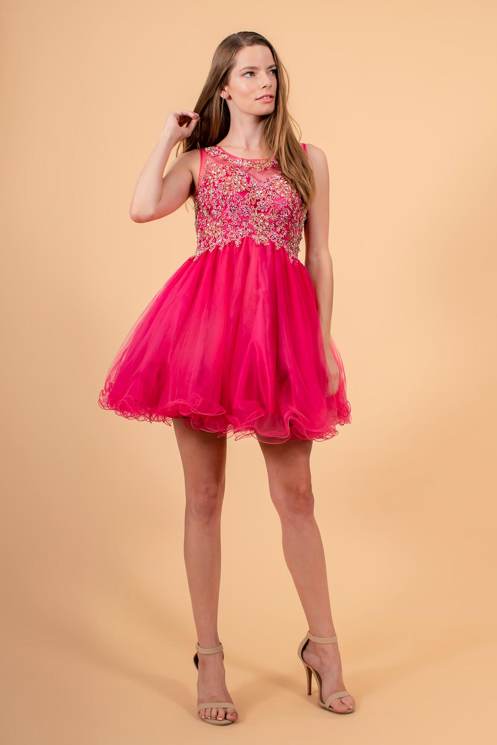 Sleeveless Short Prom Dress Homecoming - The Dress Outlet Fuchsia