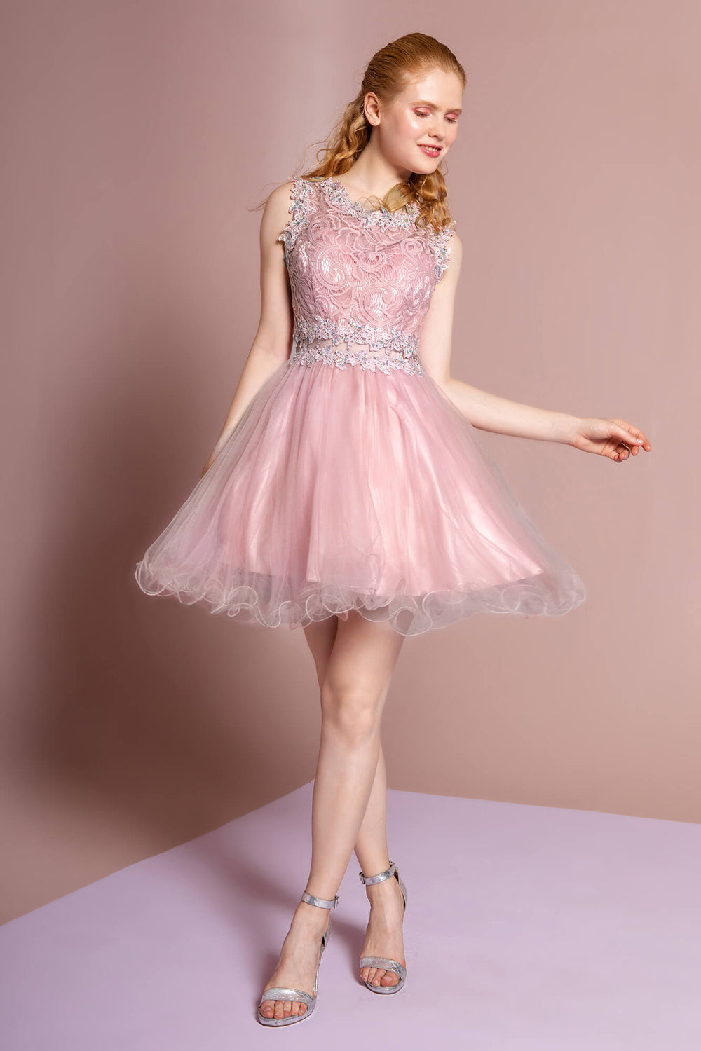 Sleeveless Prom Short Dress Homecoming - The Dress Outlet Mauve Pink