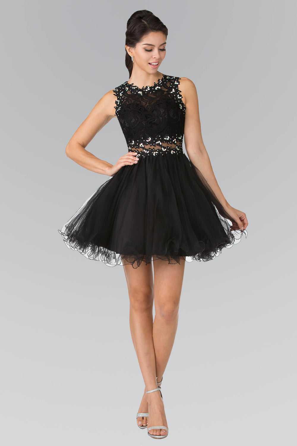 Sleeveless Prom Short Dress Homecoming - The Dress Outlet Black