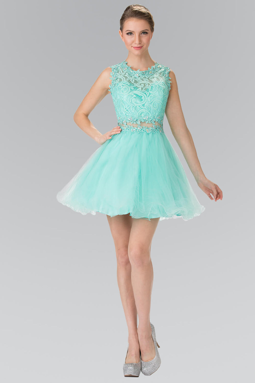 Sleeveless Prom Short Dress Homecoming - The Dress Outlet Mint