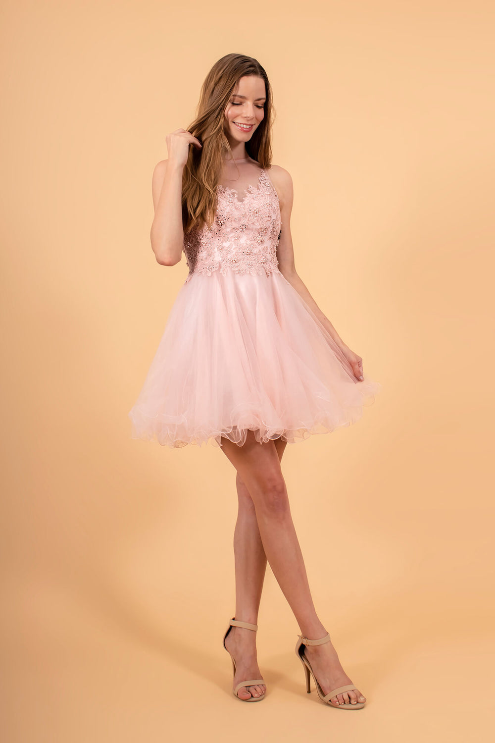 Short Prom Dress Formal Homecoming - The Dress Outlet Blush