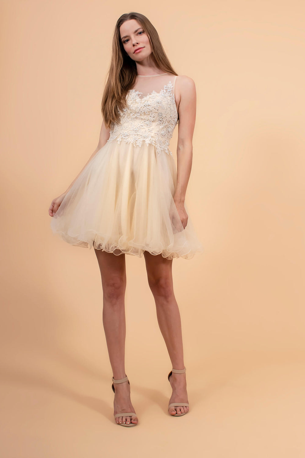 Short Prom Dress Formal Homecoming - The Dress Outlet Champagne