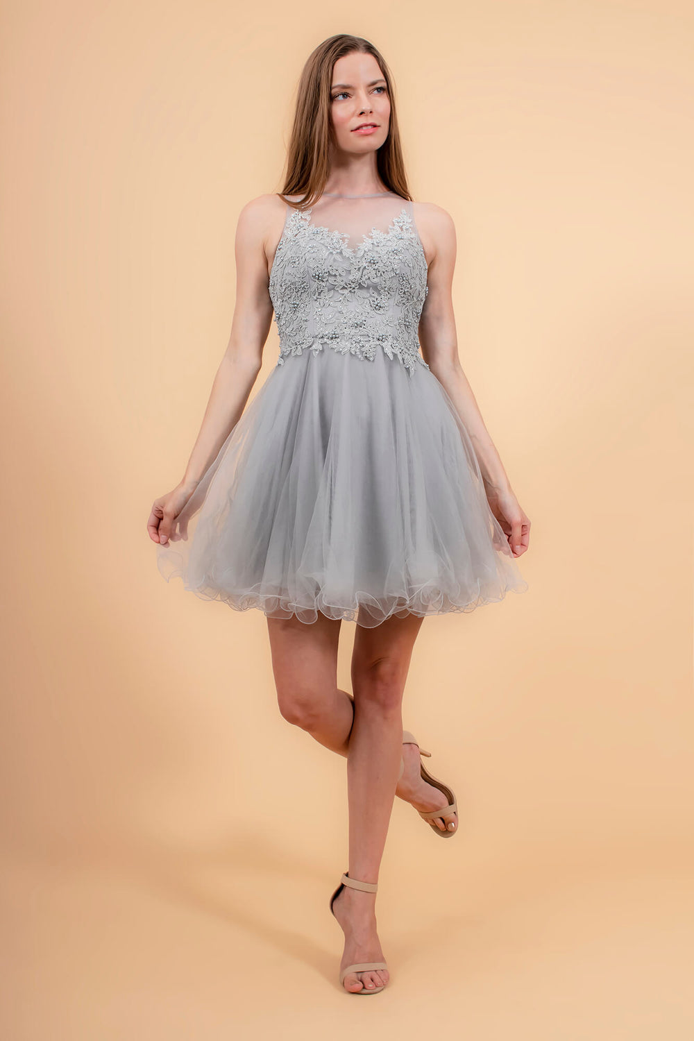 Short Prom Dress Formal Homecoming - The Dress Outlet Silver