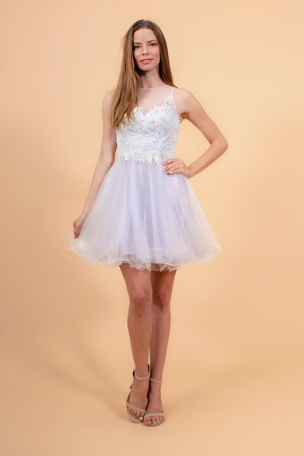 Short Prom Dress Formal Homecoming - The Dress Outlet White