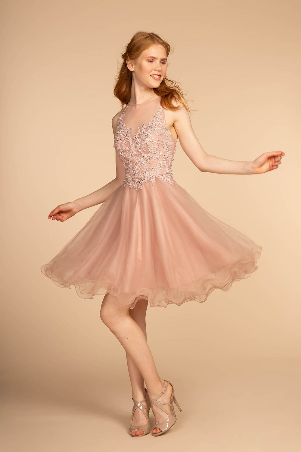 Short Prom Dress Formal Homecoming - The Dress Outlet Mauve Pink