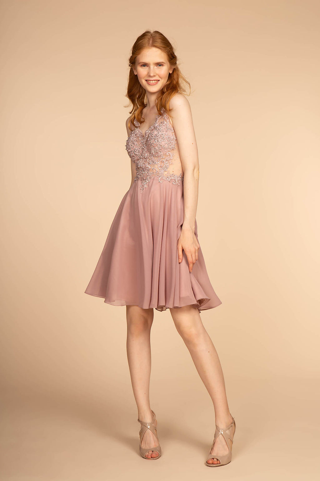 Short Prom Dress Homecoming - The Dress Outlet Mauve Pink
