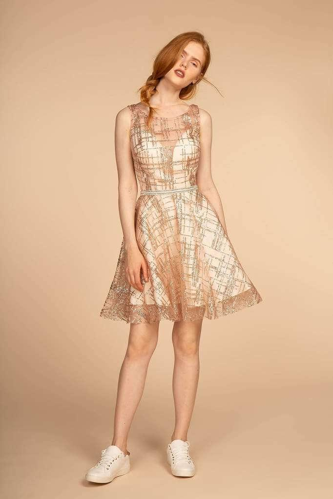 Short Sleeveless Prom Dress Cocktail - The Dress Outlet Rose Gold