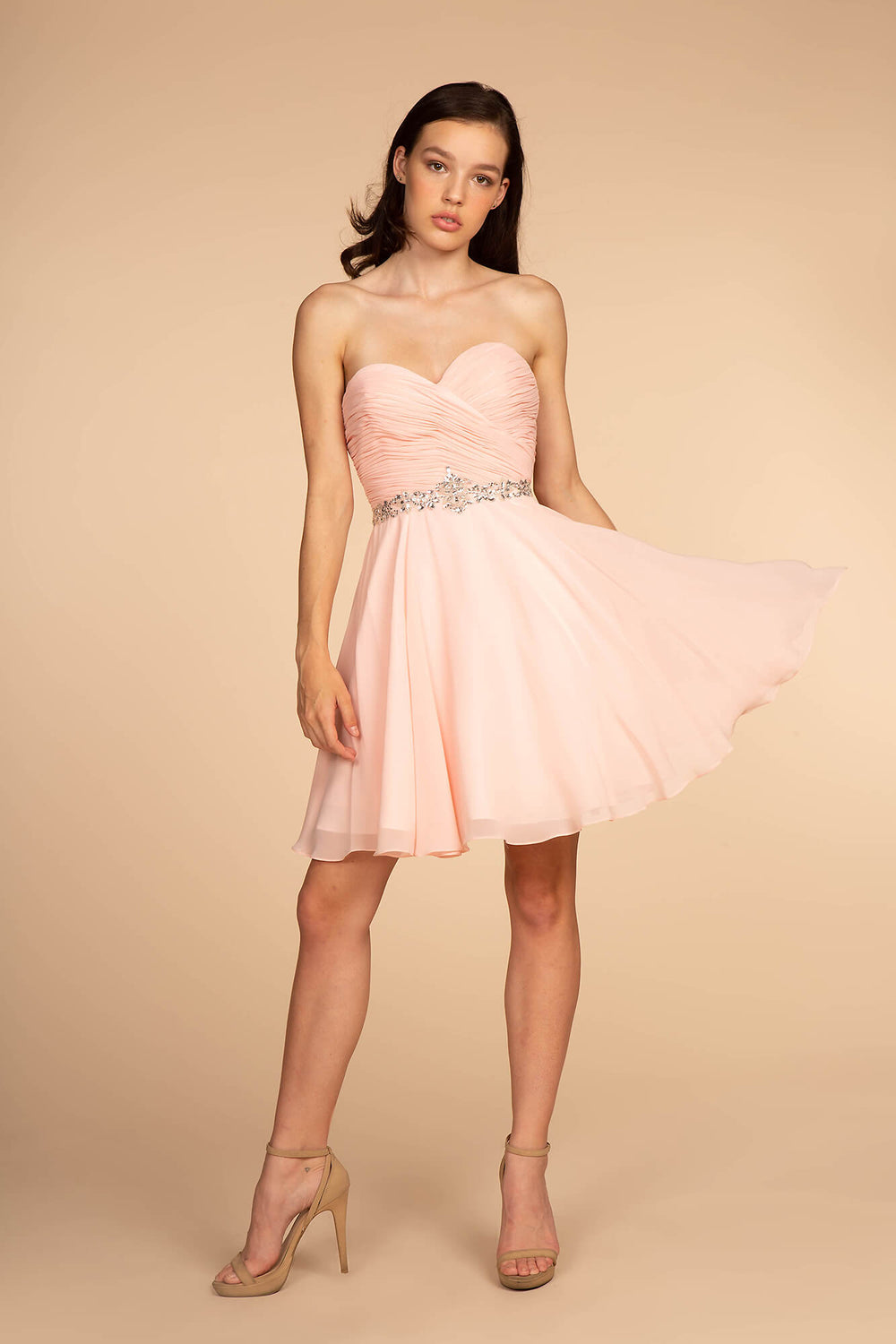 Strapless Short Cocktail Dress Formal - The Dress Outlet Blush