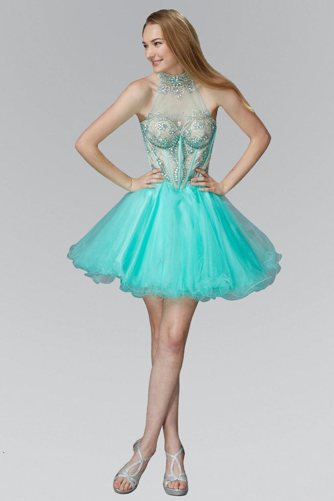 Short Tulle Dress with Rolled Hem - The Dress Outlet Elizabeth K