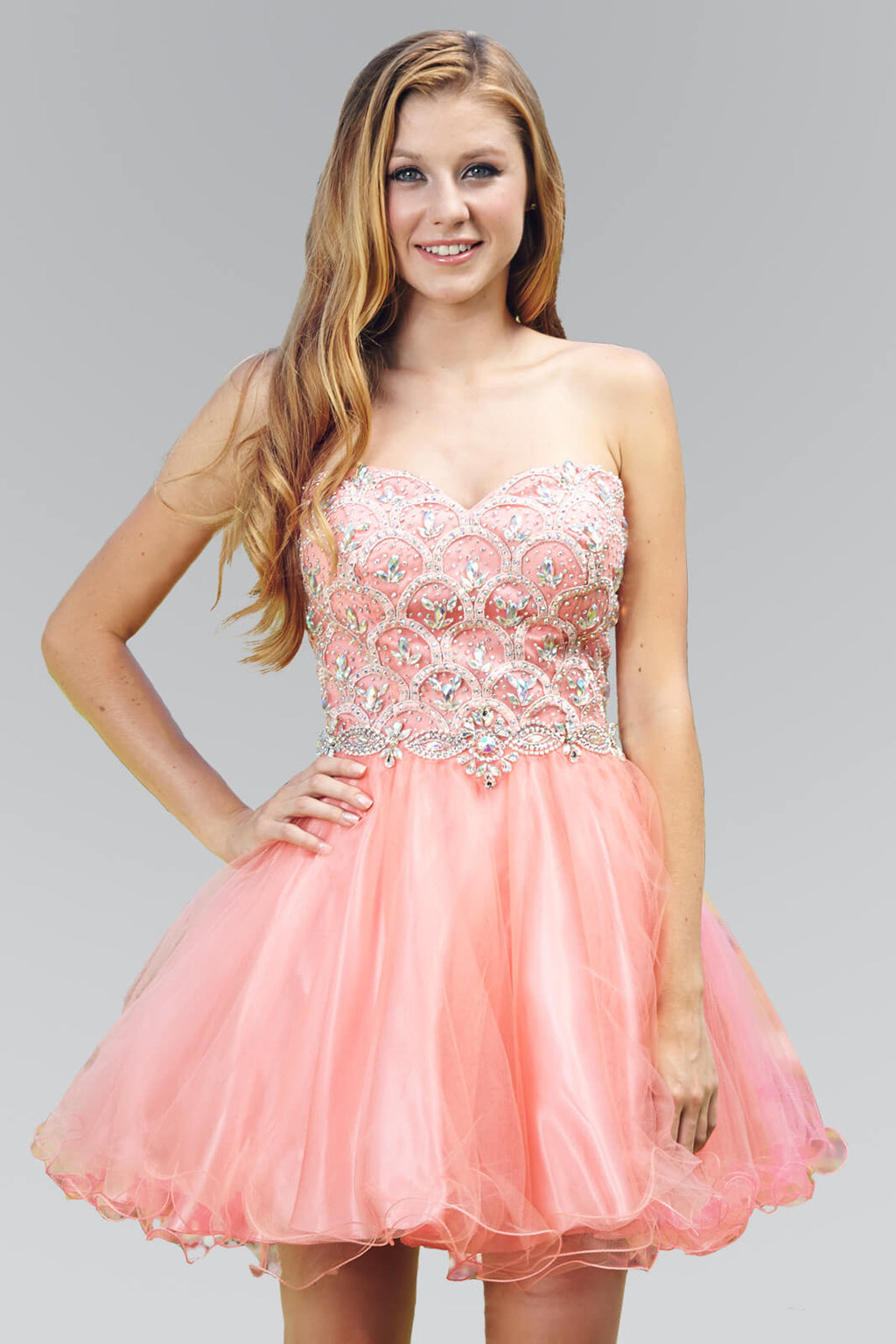 Strapless Short Prom Dress Homecoming - The Dress Outlet Coral