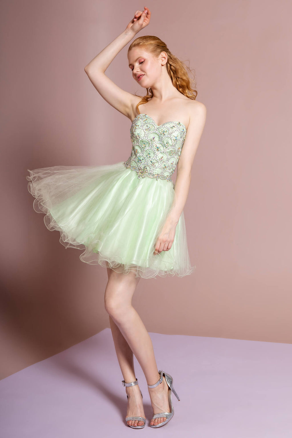 Strapless Short Prom Dress Homecoming - The Dress Outlet Lime