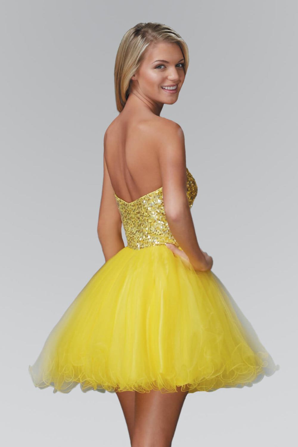 Sweetheart Short Prom Dress Homecoming - The Dress Outlet Yellow