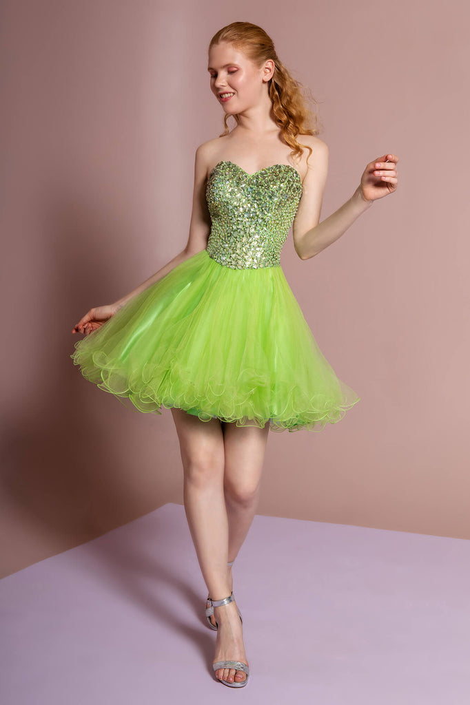 Sweetheart Short Prom Dress Homecoming - The Dress Outlet L. Green
