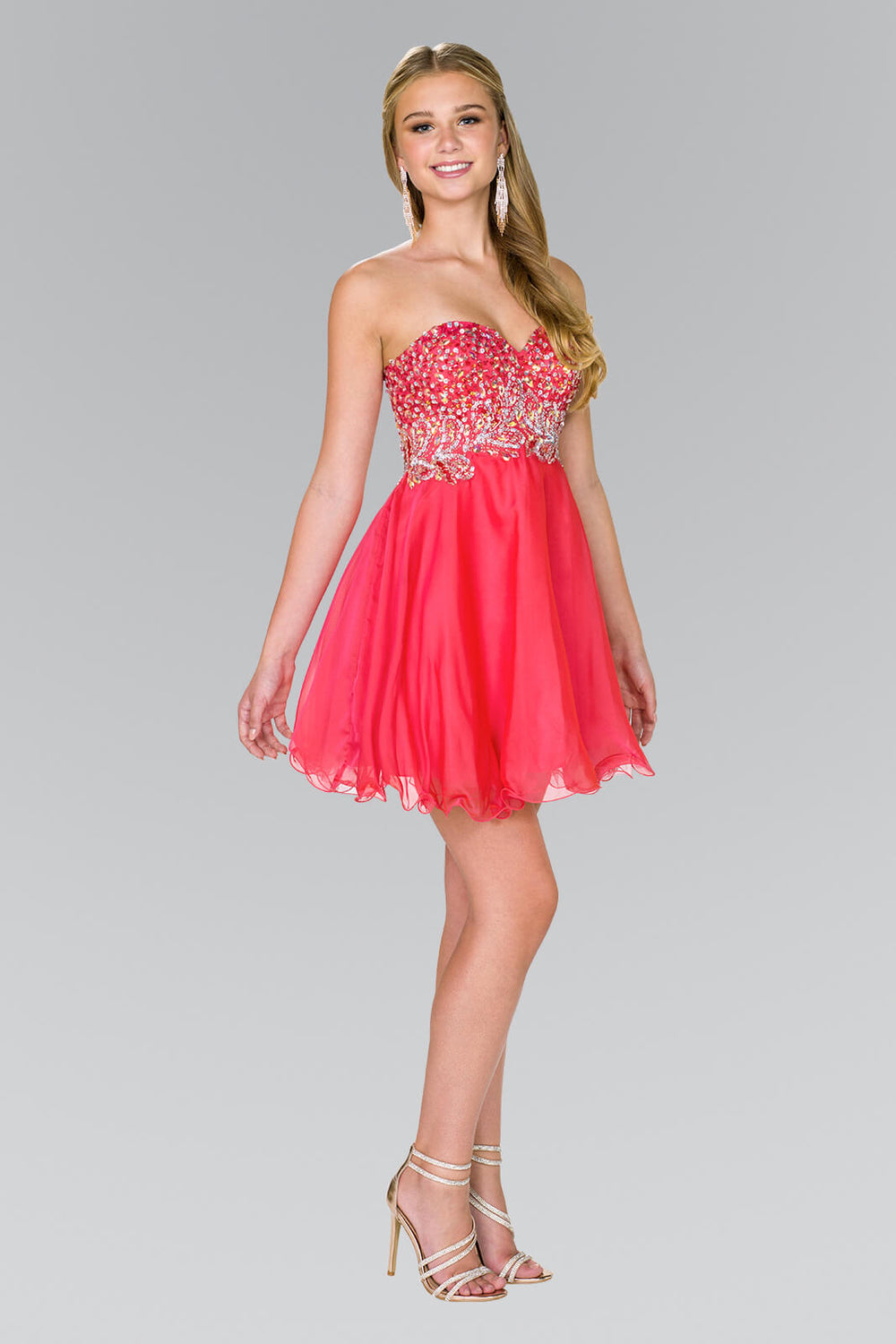 Strapless Prom Short Dress Homecoming - The Dress Outlet Watermelon