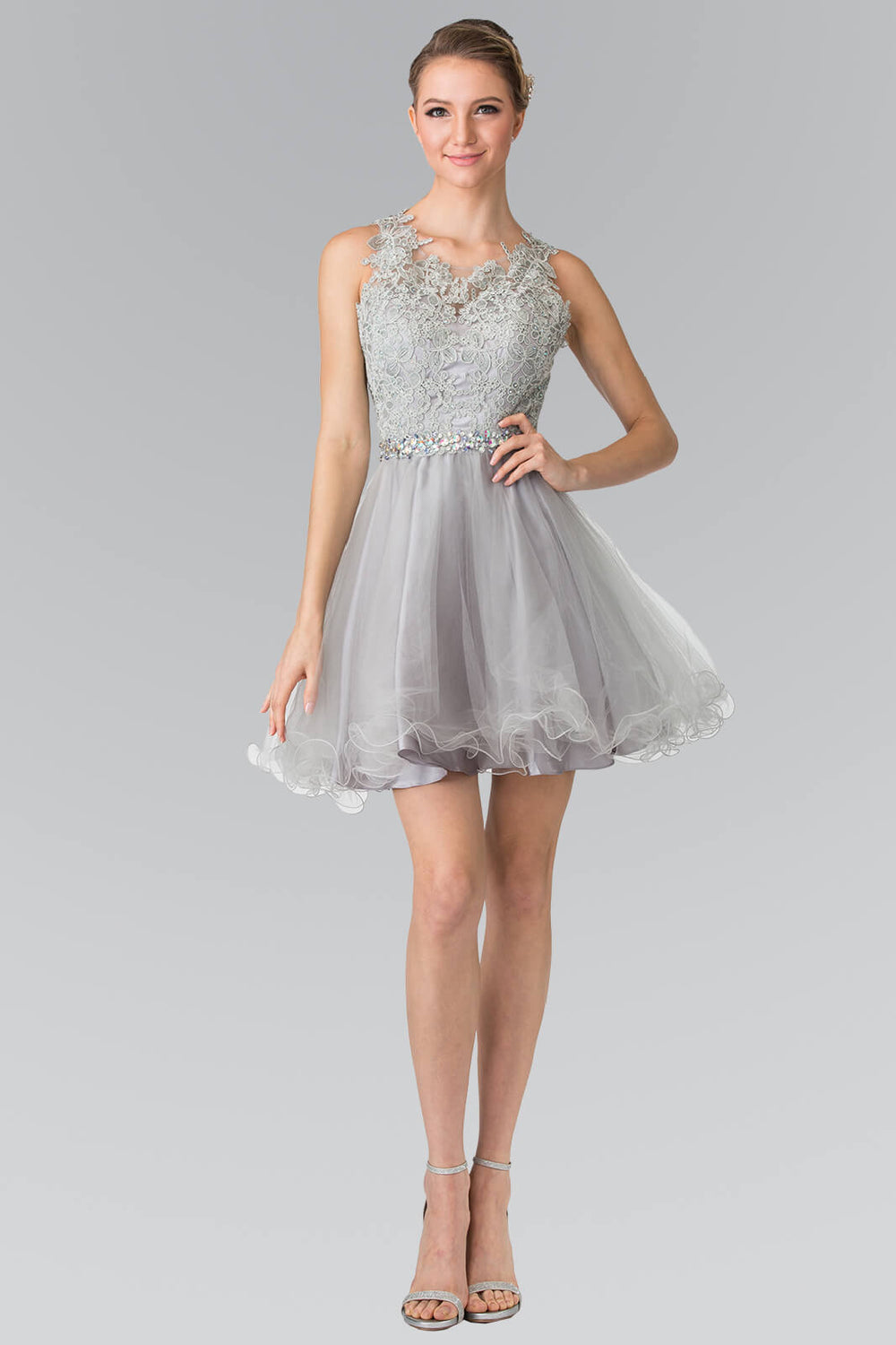 Sleeveless Prom Short Dress Homecoming - The Dress Outlet Silver