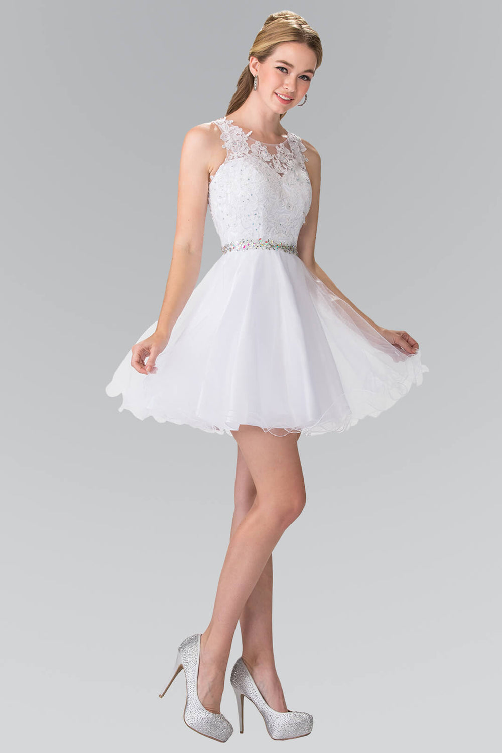 Sleeveless Prom Short Dress Homecoming - The Dress Outlet Snow White