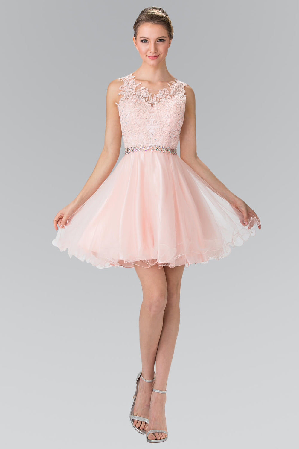 Sleeveless Prom Short Dress Homecoming - The Dress Outlet Blush