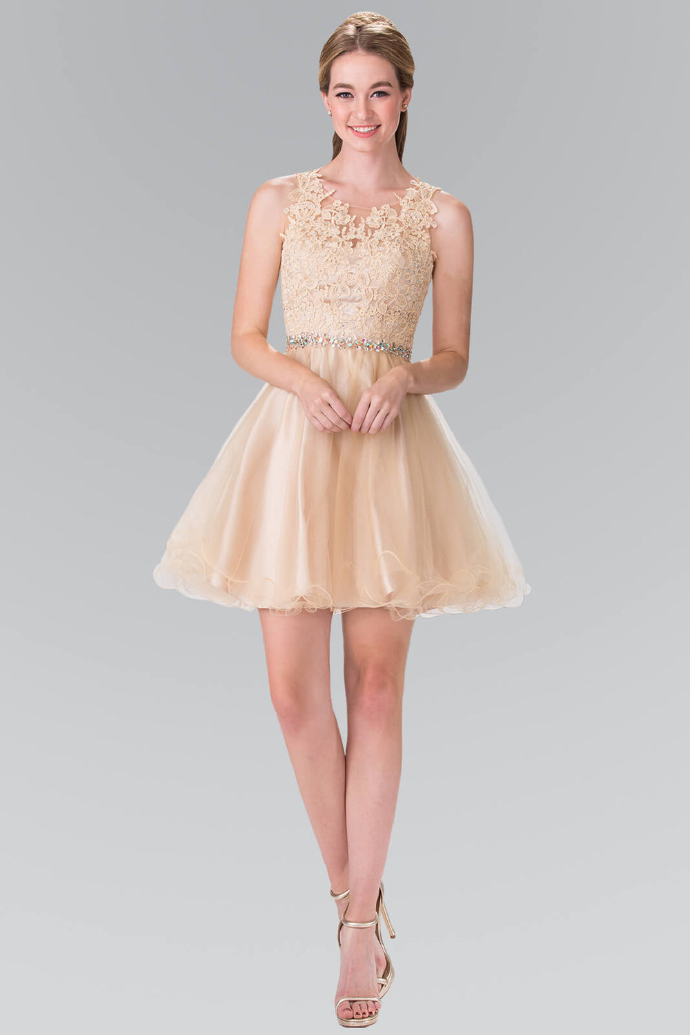 Sleeveless Prom Short Dress Homecoming - The Dress Outlet Champagne