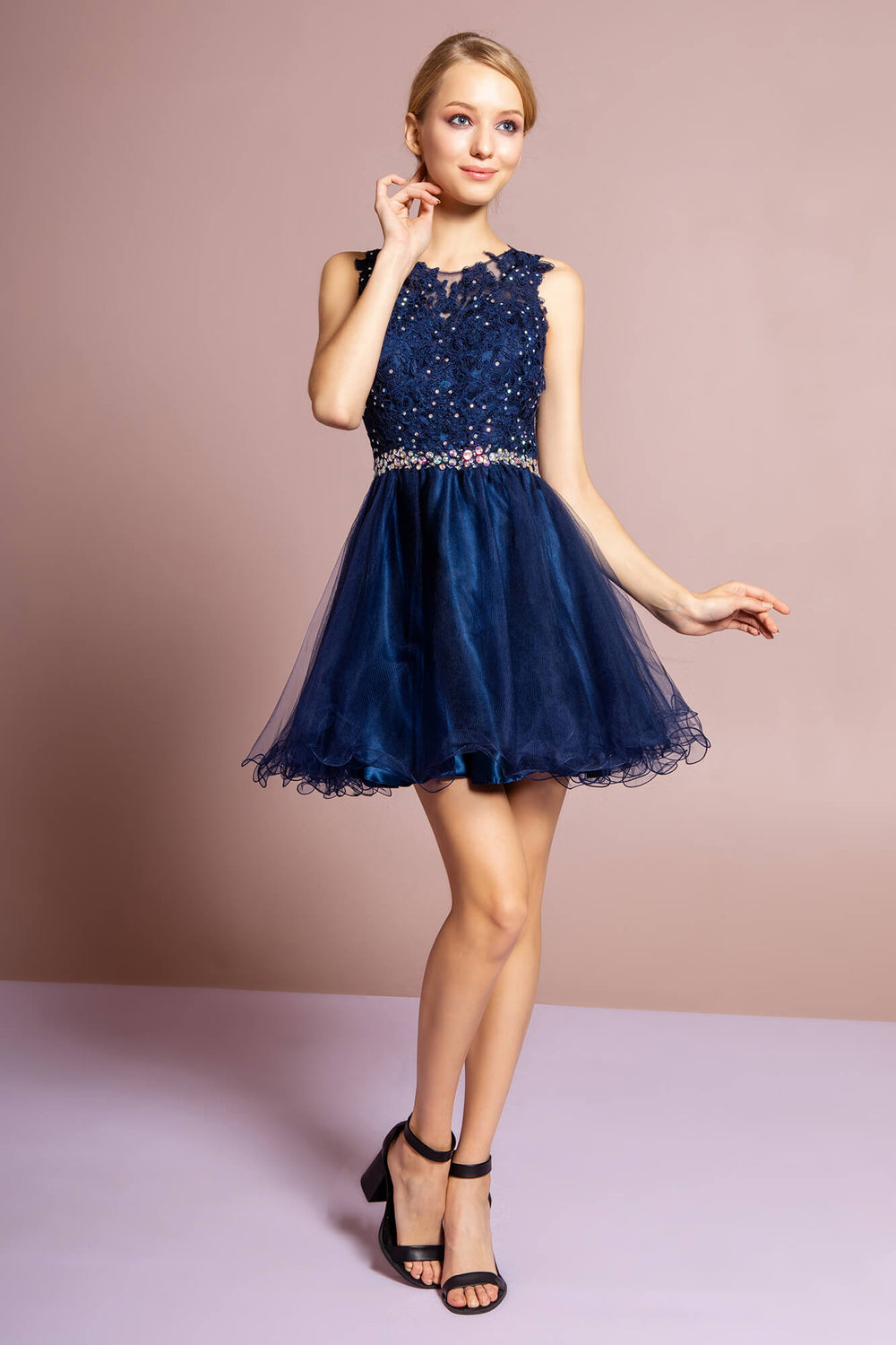 Sleeveless Prom Short Dress Homecoming - The Dress Outlet Navy